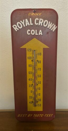 """Vintage 1950s Donasco Royal Crown Cola Thermometer Metal Advertising Sign - 26"""""""