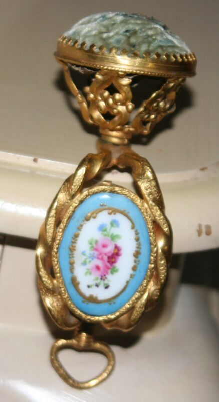 """Rare Antique French Pin Cushion Clamp; """"Hand Painted Porcelain Plaque"""" c1800"""