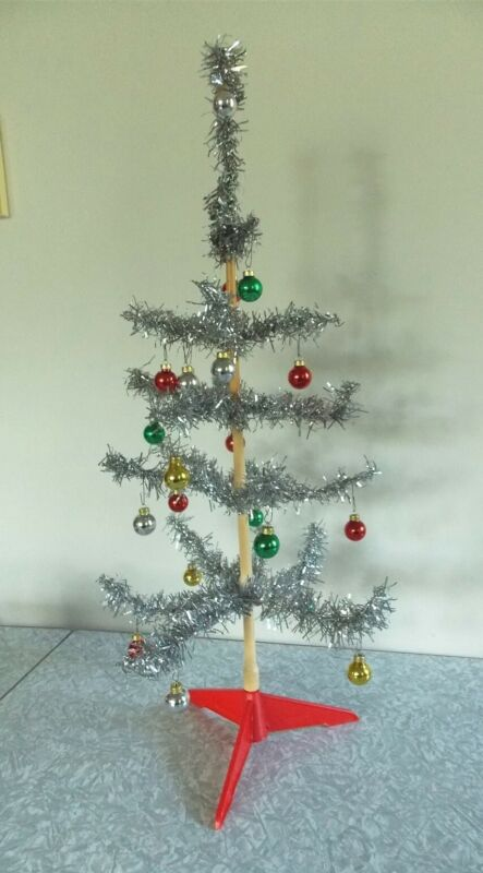 """Vtg MCM Xmas 24"""" Silver Tinsel Feather Tree with Glass Balls Tabletop W GERMANY"""