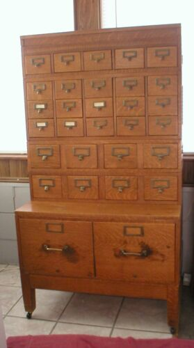 Vintage Antique Rare Oak Library Card File Catalog Cabinet 8 Sections (Reduced)