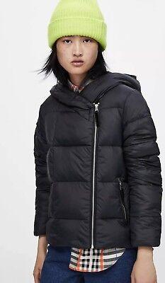 Zara Black Zip Up Down Filled Puffer Jacket Short Coat M UK12 Bnwt for sale  Shipping to Ireland