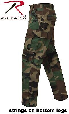 Army Military Style Woodland Camo 100% Cot Rip-Stop BDU Cargo Fatigue Pants -