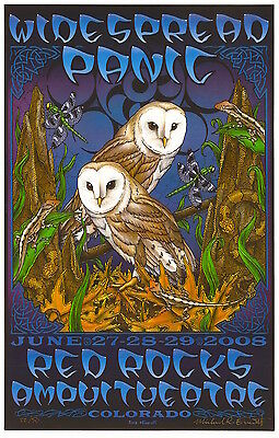 Widespread Panic Red Rocks 2008 Everett SIGNED Poster 33/50