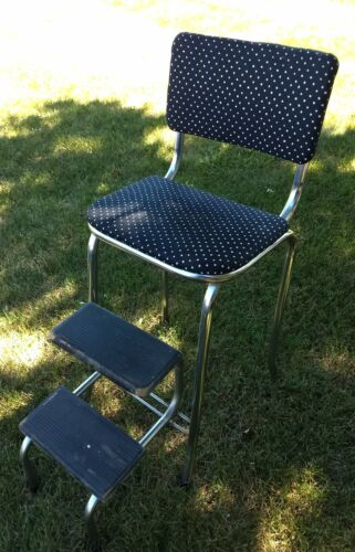 VINTAGE 1950s  KITCHEN  CHAIR  WITH  FOLDING  STEP  STOOL