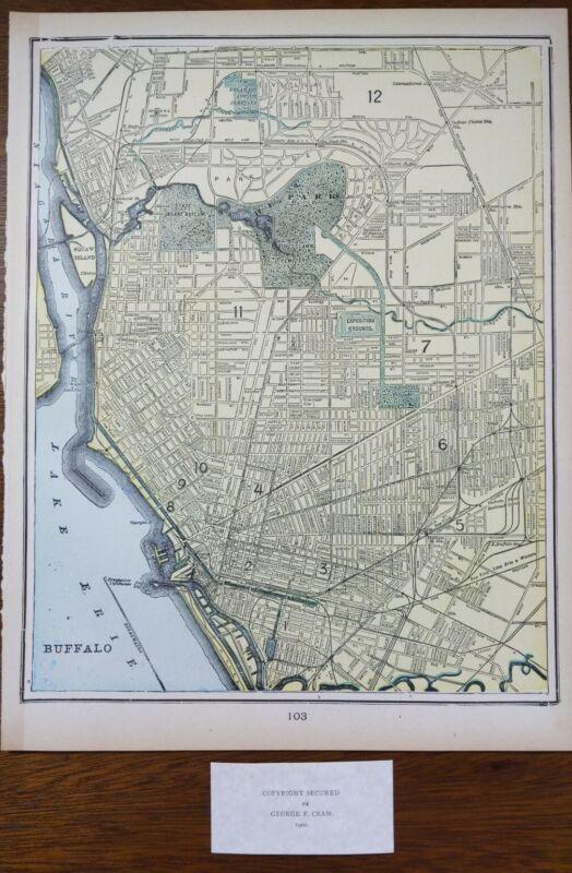 "Vintage 1900 BUFFALO NEW YORK Map 11""x14"" ~ Old Antique Original WEST SENECA"