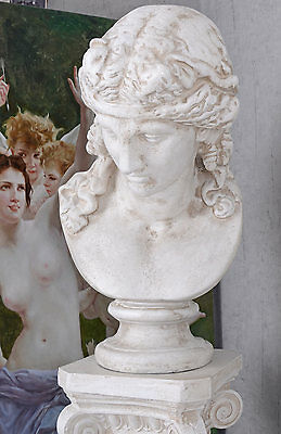 Männerbüste Antike Skulptur Gartenfigur Schlossgarten Figur Büste 73cm