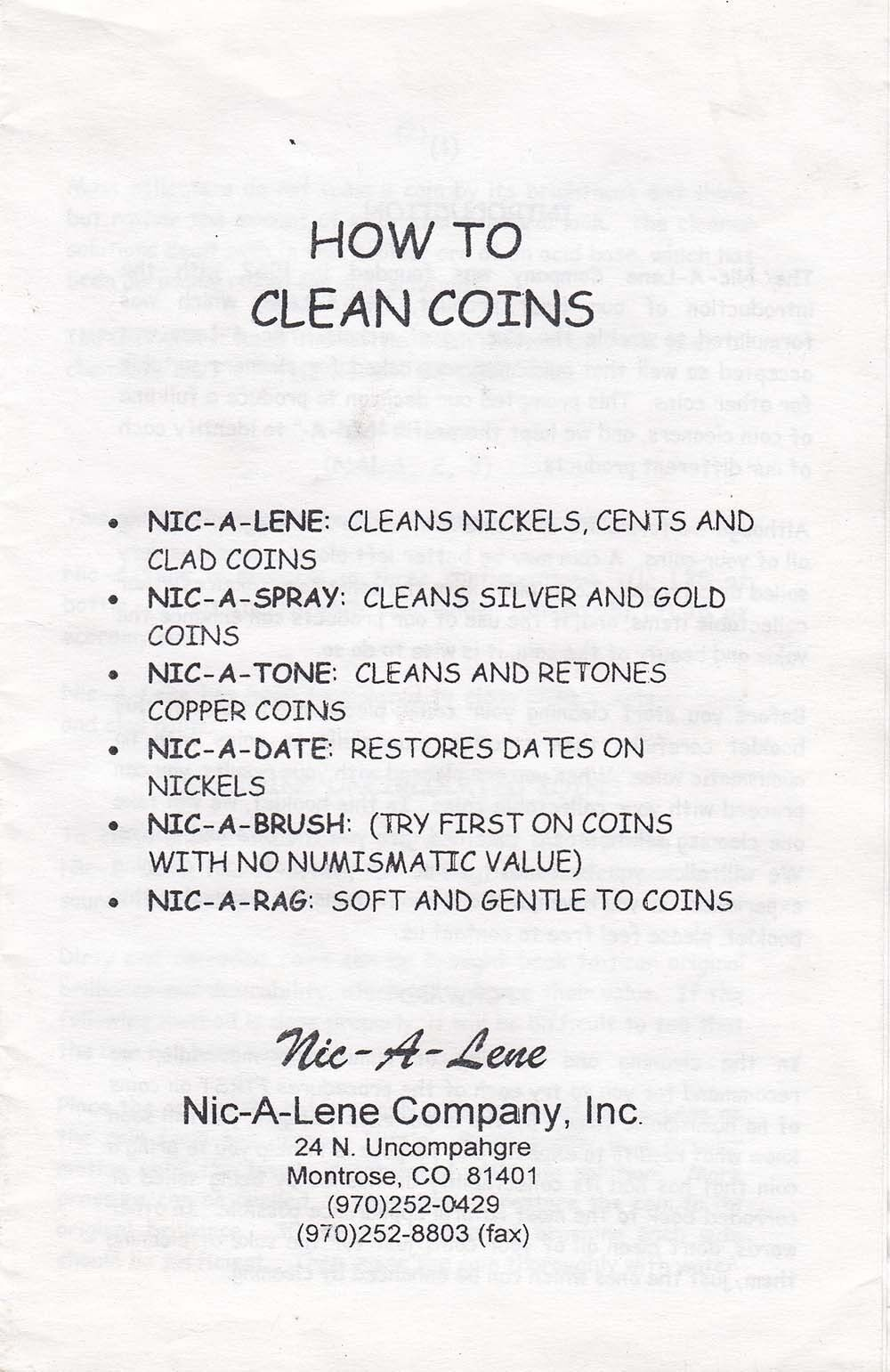 How To Clean Coins Booklet Instructions Manual For Nic A Date Lene Nic Tone Tips