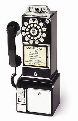 Classic 1950's Diner Model Kompakttelefon TP003 Replik Retro-Style Schwarz Black