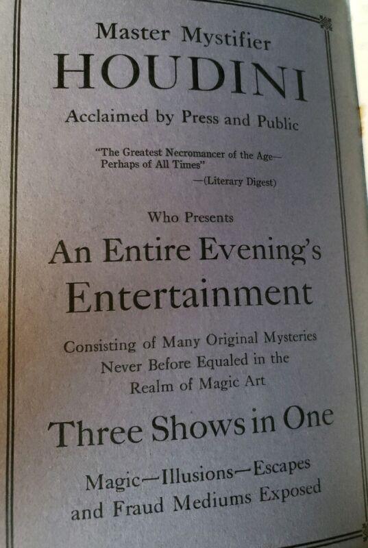 Society of American Magicians Mystery Show 1926 Program Harry Houdini