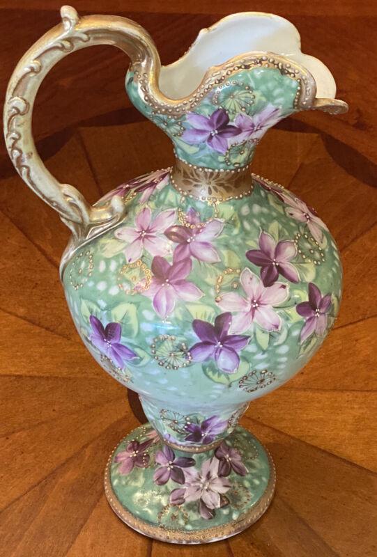 Antique Hand-Painted Porcelain Floral Footed Ewer Vase