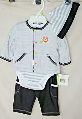 LITTLE ME 3 pc Black & Gray LION Jacket & Pant Set w/Hat BOY SIZE3M NWT