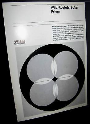 Original Wild Heerbrugg Roelofs Solar Prism Booklet Vg Surveying