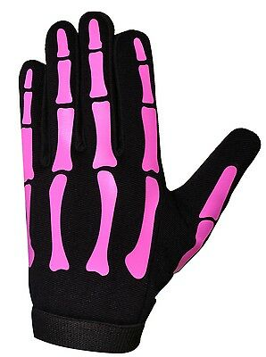 HiVis High Visibility Halloween Pink Ladies Skeleton Mechanics Gloves - Pink Skeleton Gloves