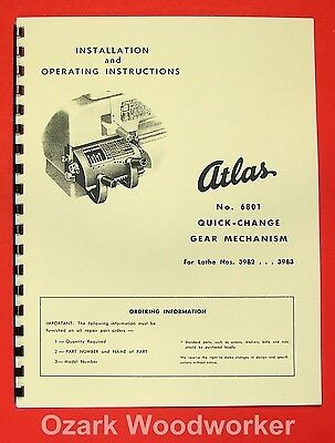 "ATLAS/CRAFTSMAN 12"" New Quick Change Gear Box Instructions & Parts Manual 0048"