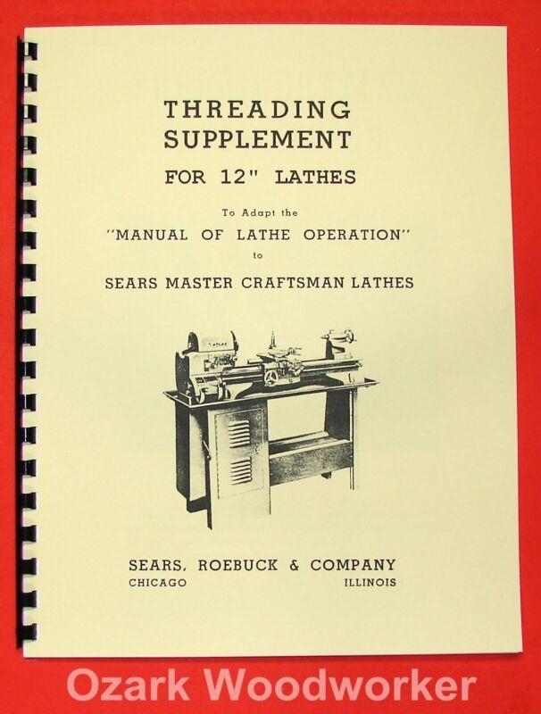"ATLAS/CRAFTSMAN 12"" New Metal Lathe Threading Operation Manual 0053"