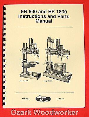 Ab Arboga Maskiner Er 830 Er 1830 Radial Drill Instruction Parts Manual 0922