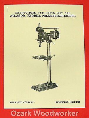 Atlas No. 73 Drill Press Owners Operators Parts Manual 0898
