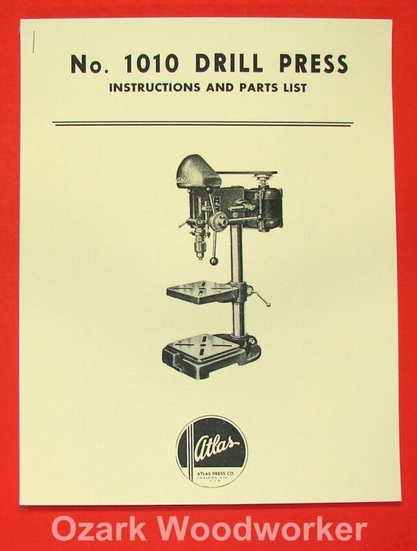 Atlas 1010 Drill Press Instructions & Parts Manual 0019