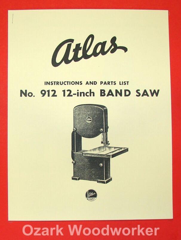 "ATLAS 912 12"" Band Saw Operator Parts Manual 0030"