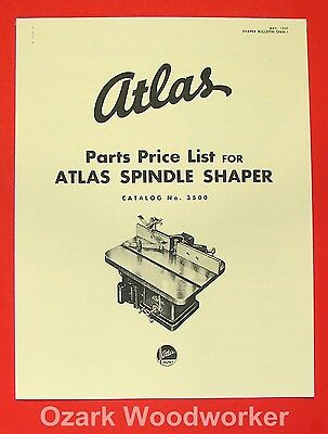 Atlas 3500 Spindle Wood Shaper Operator Parts Manual 0023