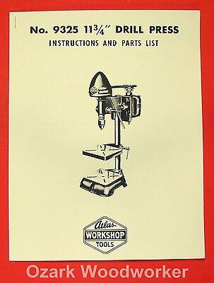 Atlas 9325 11 34 Drill Press Instruction Parts Manual 0031