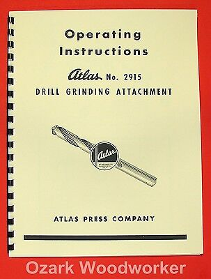 Atlas 2915 Drill Grinding Attachment Instruction Parts Manual 0022