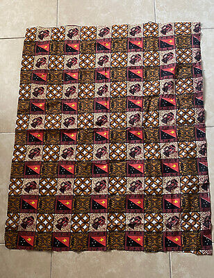 Vintage Papua New Guinea PNG Flag Tribal Print Fabric 43