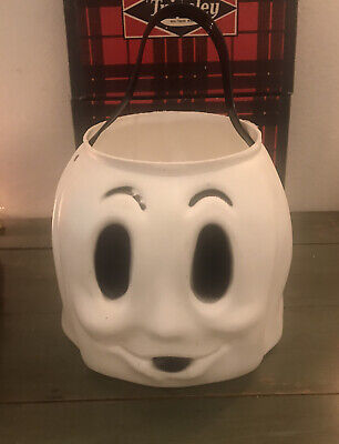 Vintage Ghost Halloween Blow Mold Trick Treat Candy Plastic Bucket Pail Empire