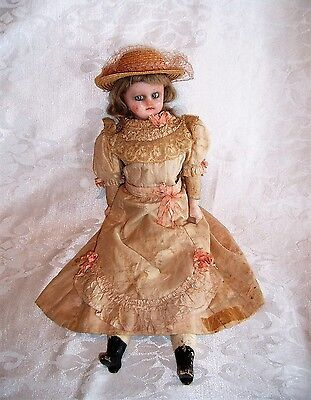 """ANTIQUE WAX DOLL with ORIGINAL DRESS and EYES MOVE FROM SIDE TO SIDE 18"""""""