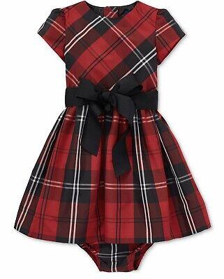 NWT Ralph Lauren Baby Girls Tafeta Plaid Set Dress Holiday Christmas Red