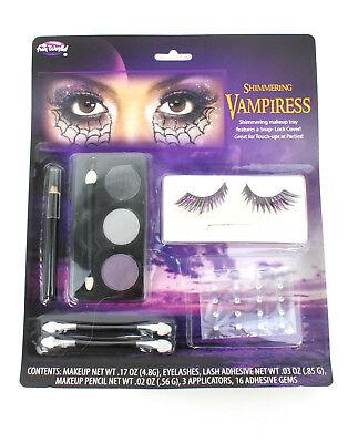 Women Vampire Makeup (Women's Shimmering Vampiress Eyelash & Makeup Kit Glitter Vampire Queen)