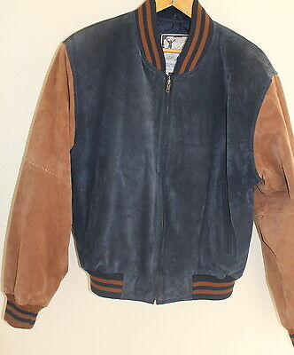 Best Leather Outfitters Hip Vintage Brown and Blue Suede Bomber Jacket Sz