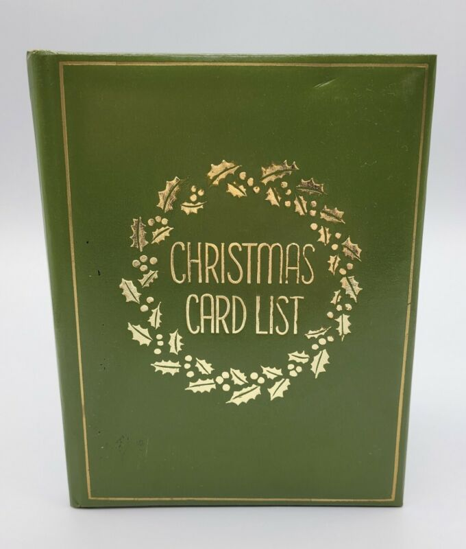 Vintage Christmas Card List Book By Springfield Product Green 5.5 x 7
