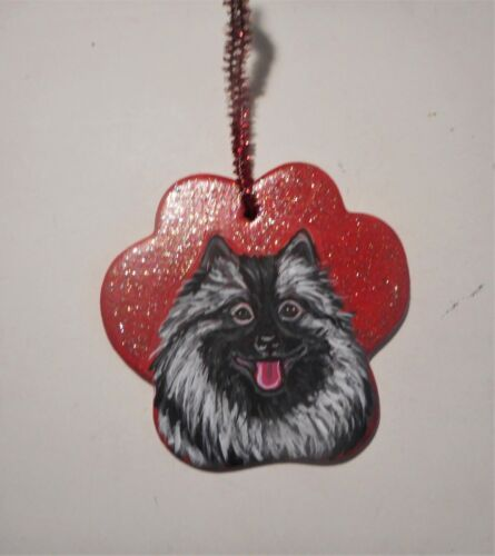 Keeshond dog Paw Print Ceramic Christmas Ornament Hand Painted