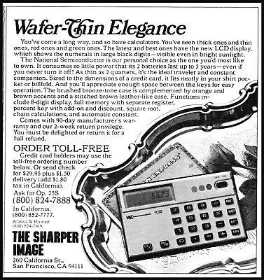 1979 The Sharper image wafer-thin calculators vintage photo Print Ad ads28