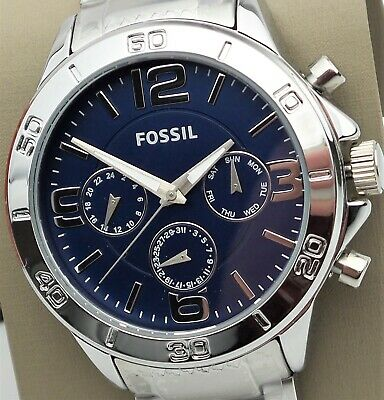 FOSSIL Chronograph Watch BQ7010 Men's Blue Dial Silver Stainless Steel $145 NEW