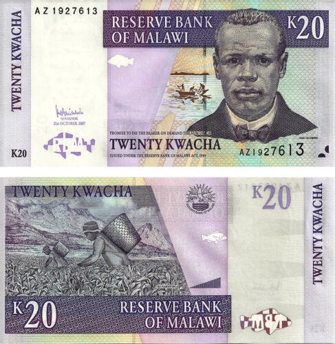MALAWI 20 KWACHA 2007 P 52 UNC AZ REPLACEMENT NOTE