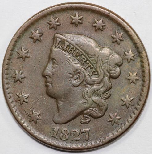 1827 1c N-5 Coronet or Matron Head Large Cent