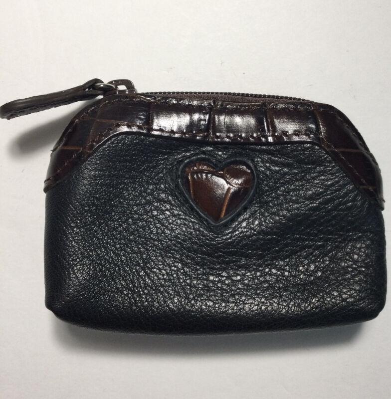 Brighton Small Leather Coin Purse Pouch Faux Croc Heart Trim