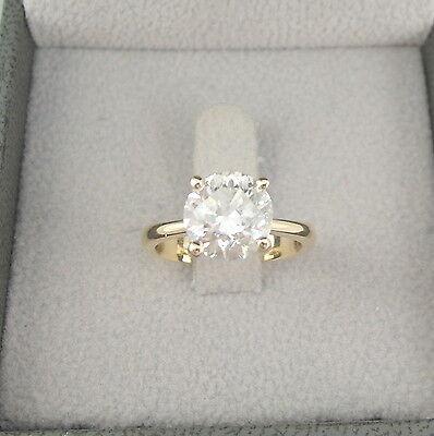 DIAMOND ENGAGEMENT RING ROUND 3.0 CT F VS2 14K YELLOW GOLD WOMAN GIFT FASHION H