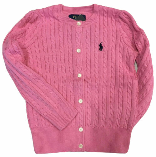 RALPH LAUREN POLO Girls Sweater Kids Cable Cardigan Size 16 XL Pink