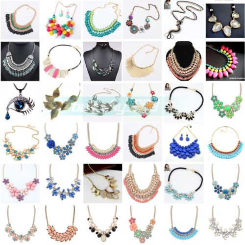 Jewelry - Fashion Women Jewelry Pendant Crystal Choker Chunky Statement Chain Bib Necklace