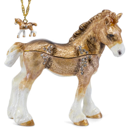 Bejeweled Clydesdale Foal Horse Enameled Pewter Trinket Box w/ Pendant Necklace!