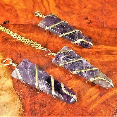 Gold Wrapped Pendant - Amethyst Necklace Gold Wire Wrapped Blade Pendant A10 Healing Crystals And Stone