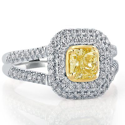 GIA Certified 1.54 Ct Yellow VS1 Radiant Diamond Engagement Ring 18k White Gold