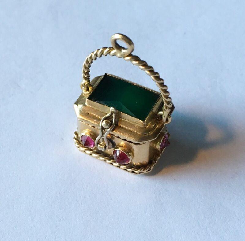 Antique Art Deco 18k Purse Charm/Drop/pendent With Stones
