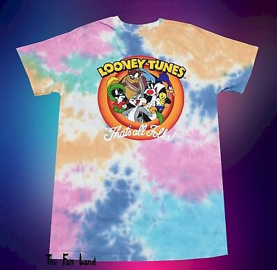 - New Looney Tunes Thats all Folks Squad Pastel Tie Dye Womens Vintage T-Shirt