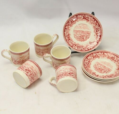 Currier and Ives Red Demitasse 5 Cups 4 Saucers
