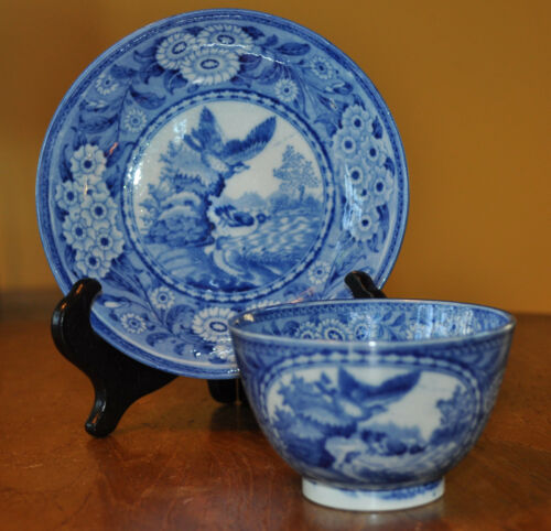Superb Antique Pearlware Staffordshire Transferware Cup & Saucer Set Ducks Pond