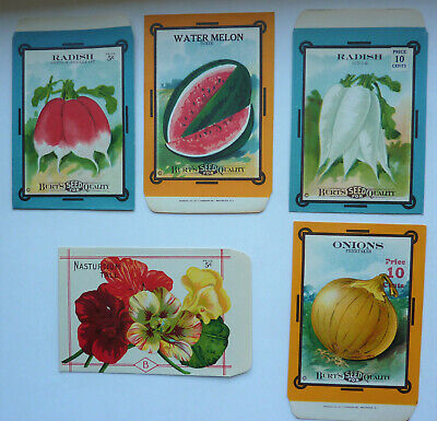Five Vintage Seed Packets – William D. Burt – FREE SHIPPING
